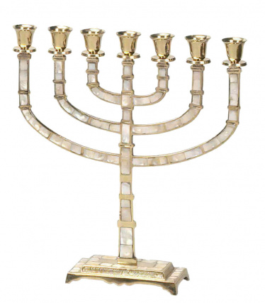 7 Branch Brass With Mother of Pearl Inlay Menorah