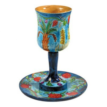 Wooden Kiddush Cup - 7 Species by Yair Emanuel