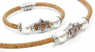 Star of David Bali Style Beaded Cork Bracelet