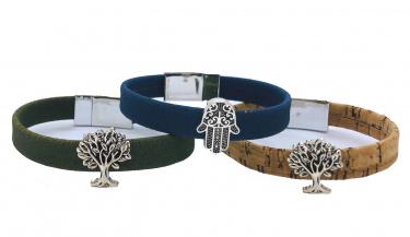 Flat Cork Bracelet with Bead