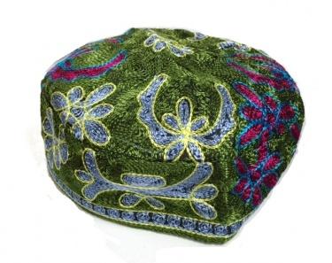 Bucharian (Russian) Style Yarmulke - Green