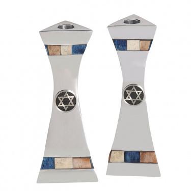 Aluminum Shabbat Candlesticks with Decorative Inlay / Star of David