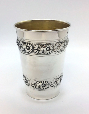 Sterling Silver Flower Stemless Kiddush Cup