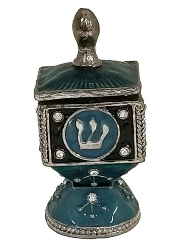 Hinged Enamel Dreidel with Stand with Rhinestones