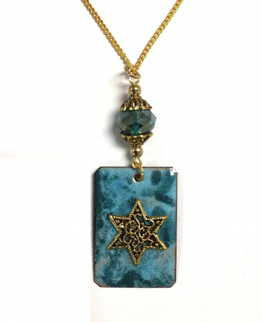 Copper Enamel Necklace - Aqua Mix