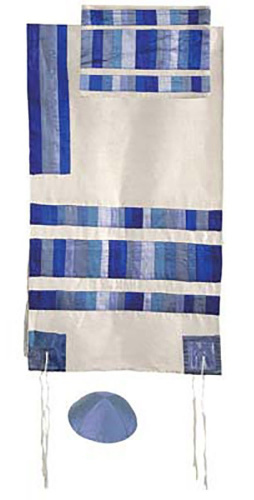 Emanuel Blue Raw Silk Appliqued Stripes Tallit Set
