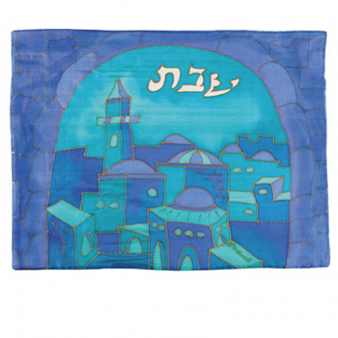Silk Painted Challah Cover Gate Blue by Yair Emanuel