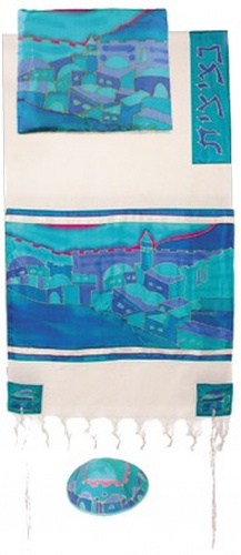 Emanuel Hand Painted Jerusalem Vista in Blue Woven Cotton and Silk Set