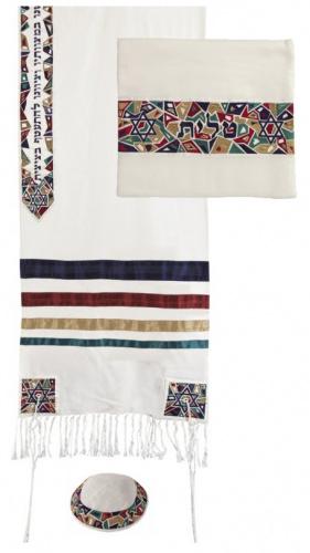Emanuel Multi Color Raw Silk Magen David