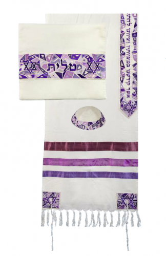Emanuel Purple Raw Silk Magen David