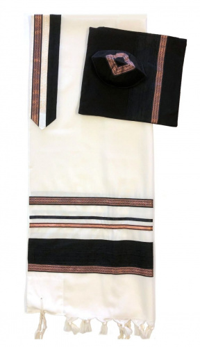 Eretz Tallit Black and Copper Trim