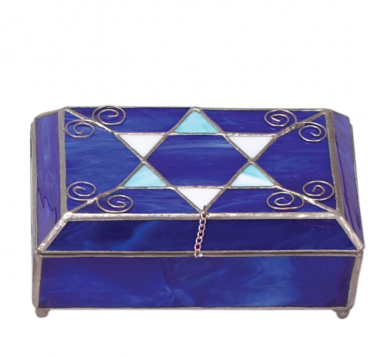 Blue Rectangle Stained Glass Jewelry Box
