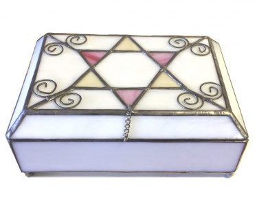 White Rectangle Stained Glass Jewelry Box