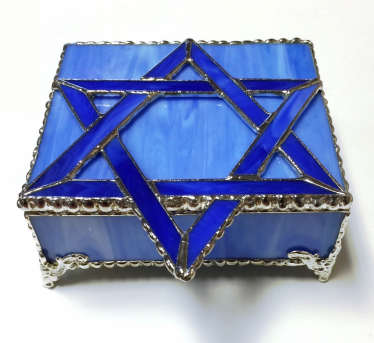 Blue Square Stained Glass Jewelry Box