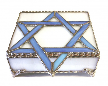 White Square & Blue Star Stained Glass Jewelry Box