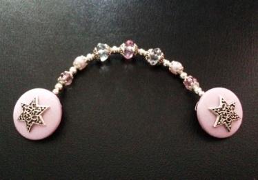 Jewish Star on Pink Satin Tallit Clips