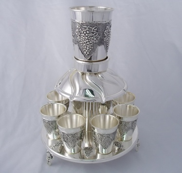Kiddush Cup Fountain with 8 Small Cups