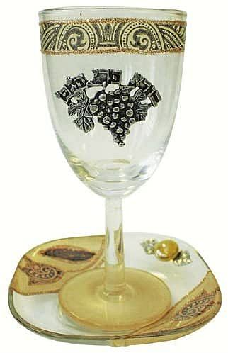 Lily Art Glass Kiddush Cup and Tray Tulip