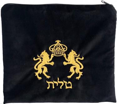Lion Black Tallit Bag