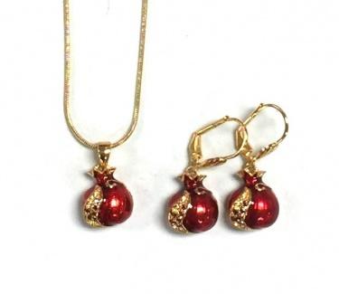 Pomegranate Pendant & Earrings Set by Marina Meiri