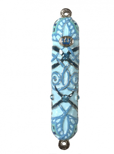 Blue Enameled Mezuzah with Rhinestones