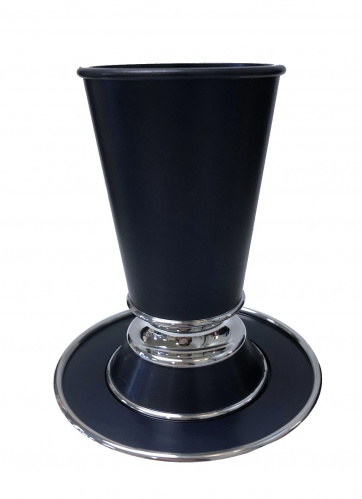 Slate Gray Dana Modern Kiddush Cup with Tray