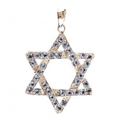 Jewish Star Necklace with Blue Stones