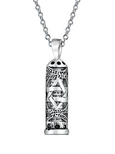 Star of David Mezuzah Pendant with Scroll and Chain, Sterling Silver