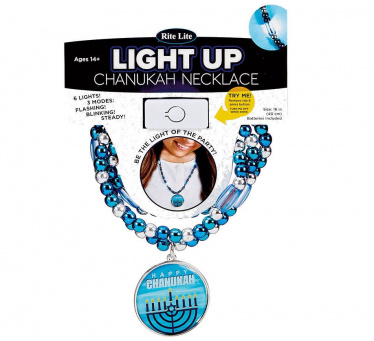 Chanukah Light Up Necklace with Blue and Silver Beads