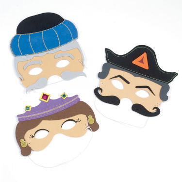 Set of 3 Purim Masks - Esther, Haman & Mordechai