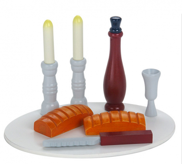 Colorful Wooden Shabbat Set in a Sack