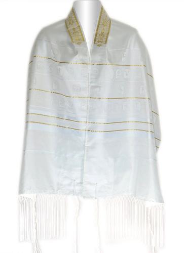 Shvotim White and Gold Tallit Size 22
