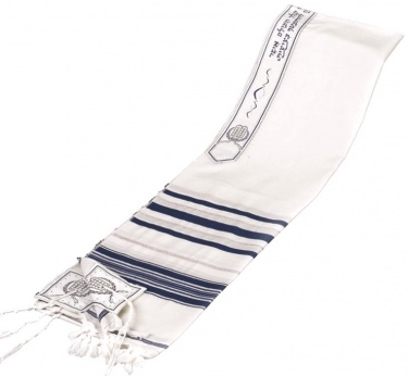 Light Wool Traditional Tallit, Blue
