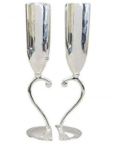 Bride and Groom Silver Plated Heart Wedding Kiddush Cups