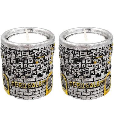 Jerusalem Silver and Gold Plated Candleholder