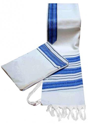 Carmel Hand Woven Tallis Set Blue