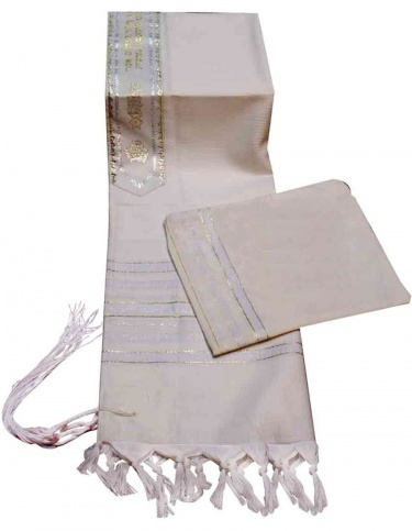 Carmel Hand Woven Tallis Set White and Gold Stripes