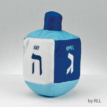 Plush Embroidered Blue and White Musical Dreidel
