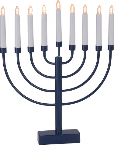 Battery Operated Menorah with Timer Blue