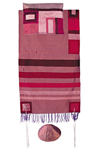 Emanuel Maroon on Maroon Silk Tallit Set