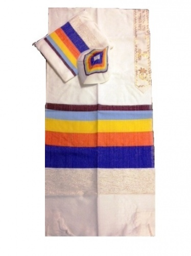 Gabrieli Wide Stripe Wool Multi Color Small Tallit