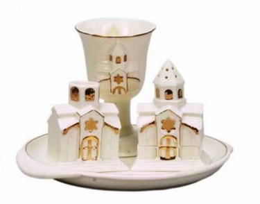 Handpainted Ceramic White Havdalah Set