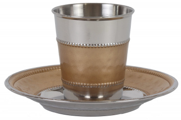 Stemless Stainless Steel Kiddush Cup Set Gold