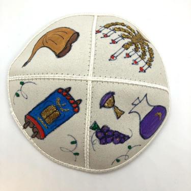 Symbols Hand Painted Yarmulke
