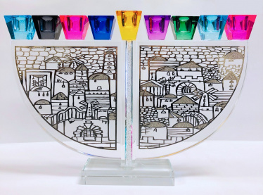 Crystal Colors Jerusalem Menorah