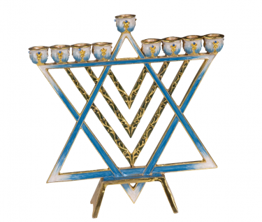 Jewish Star Enameled Menorah with Jeweled Accents