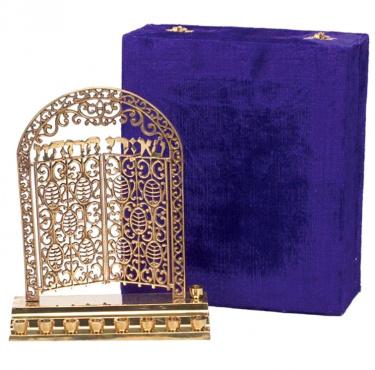 Gates of Heaven Brass Menorah with Velvet Box