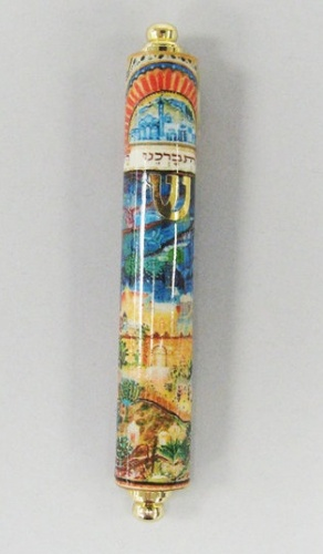 Jerusalem Panoramic Wood Mezuzah