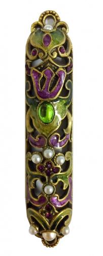 Enameled Green and Purple Mezuzah