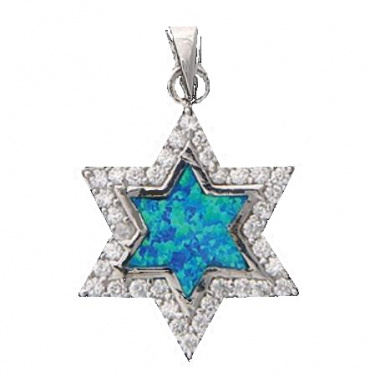Jewish Star with Blue-Green Center